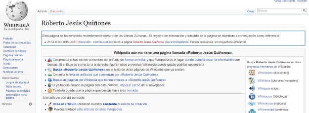 Wikipedia y Roberto Jesus